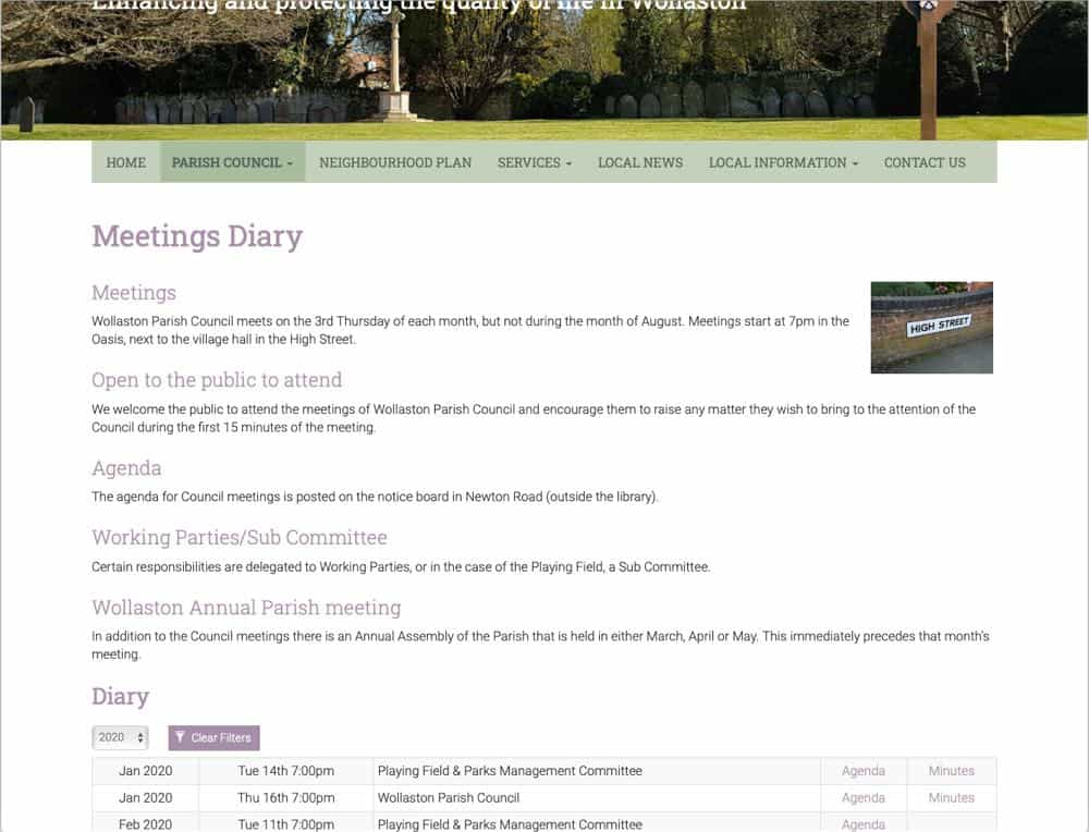 Wollaston Parish Council website meetings diary page screenshot