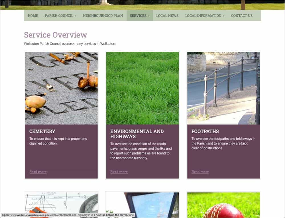 Wollaston Parish Council website services page screenshot